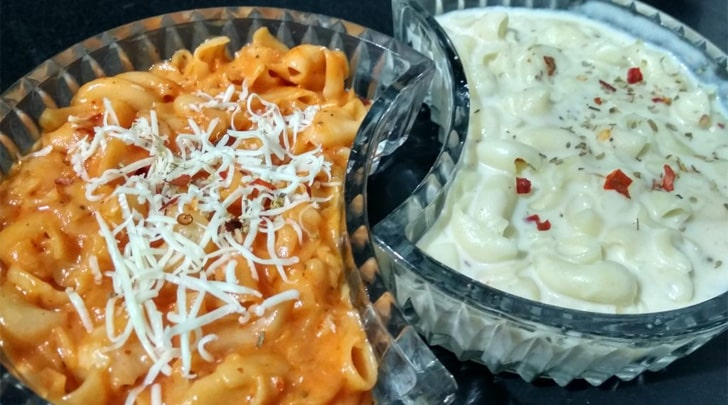 Red sauce pasta and white sauce pasta