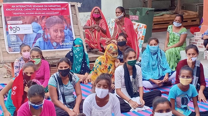 Reusable cloth sanitary pad kits were distributed among underprivileged girls in Ahmedabad