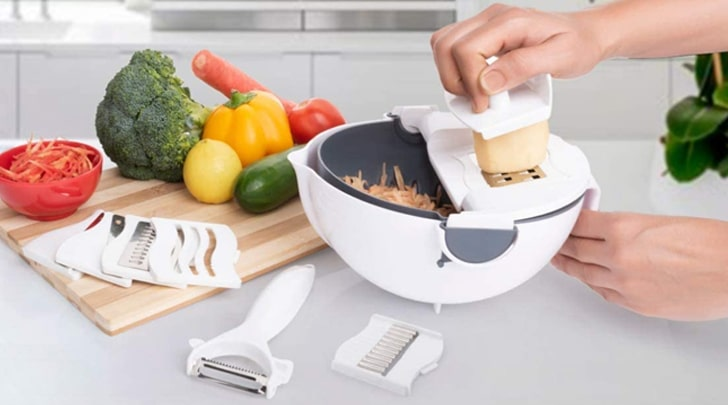 Vegetable Cutter with Rotatable Drain Basket